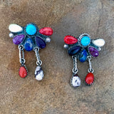 Native American Jewelry-Zuni-Sterling Silver & Multi-Stone Cluster Style Drop Earrings-Thompson Allapowa - And the Crow