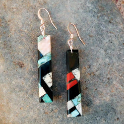 Native American Jewelry-Santo Domingo/Kewa Pueblo-Turquoise Multi-Stone Inlay Earrings - Charles Bird
