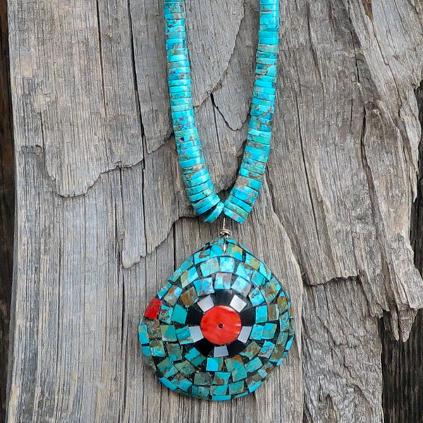 Native American Jewelry-Santo Domingo/Kewa Pueblo-Turquoise Heishi and Mosaic Inlay On Shell Necklace-Warren Nieto and Oneida Caté