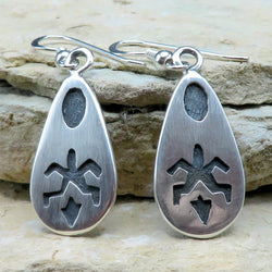 Native American Jewelry-Hopi-Sterling Silver Overlay TURTLE Earrings - Ambrose Namoki, Sr.