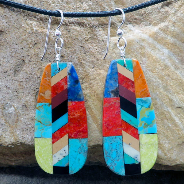 Native American Jewelry-Santo Domingo/Kewa Pueblo-Large Turquoise & Stone Inlay Earrings-Rudy & Mary Coriz