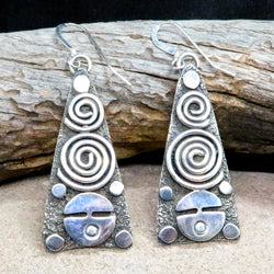 Native American Jewelry-Navajo/Zuni-Large Sterling Silver Petroglyph Dangle Earrings-Alex Sanchez