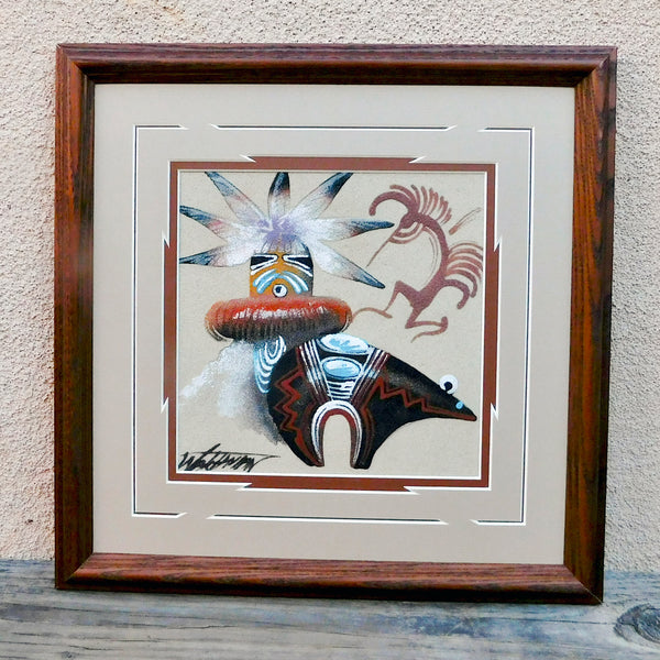 Native American Navajo Framed Sandpainting - Morning Singer, Fetish Bear, & Kokopelli Design-Michael Watchman
