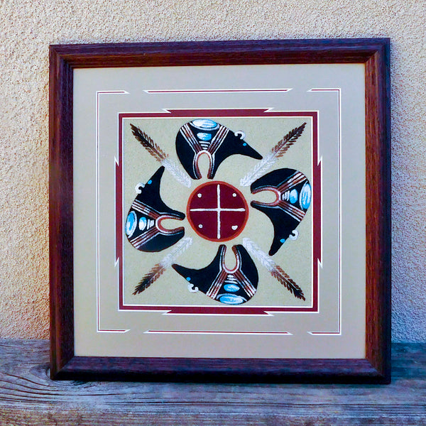 Native American Indian Navajo Framed Sandpainting - Home of the Bears Design-Michael Watchman
