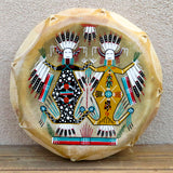 Native American Indian Art-Navajo Large Hand Painted Cochiti  Drum-Mother Earth/Father Sky Design-Glen Nez