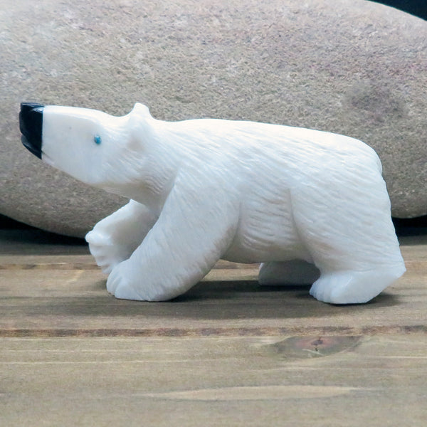Native American Zuni Fetish Carving-Marble BIG WHITE BEAR-Spirit Animal-Derrick Kaamasee