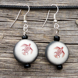 Native American Jewelry-Choctaw-Clay Two Sided MIMBRES Design BIRD Earrings-Marsha Hedrick