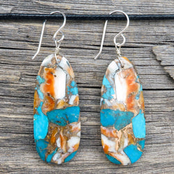 Native American Jewelry-Santo Domingo/Kewa Pueblo-Turquoise & Spiny Oyster Slab Earrings-Ronald Chavez