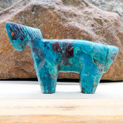 Native American Zuni Fetish Carving-Sonoran Turquoise Old School HORSE-Spirit Animal-Sandra Quandelacy