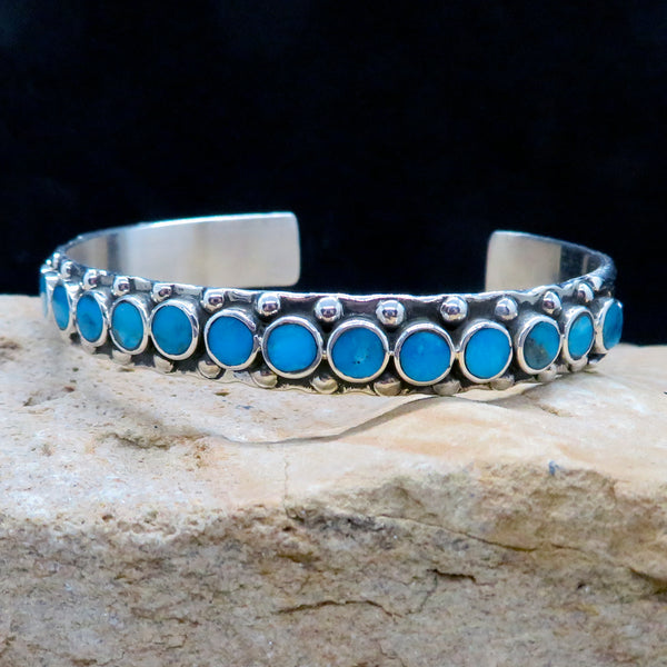 Native American Jewelry-Navajo Sterling Silver and Sleeping Beauty Turquoise Cuff Bracelet-Vincent Shirley
