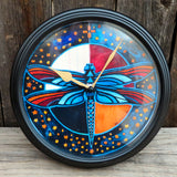 "Native American Art-""We Are All Beautifully Related"" Dragonfly Wall Clock- Joe Pulliam"