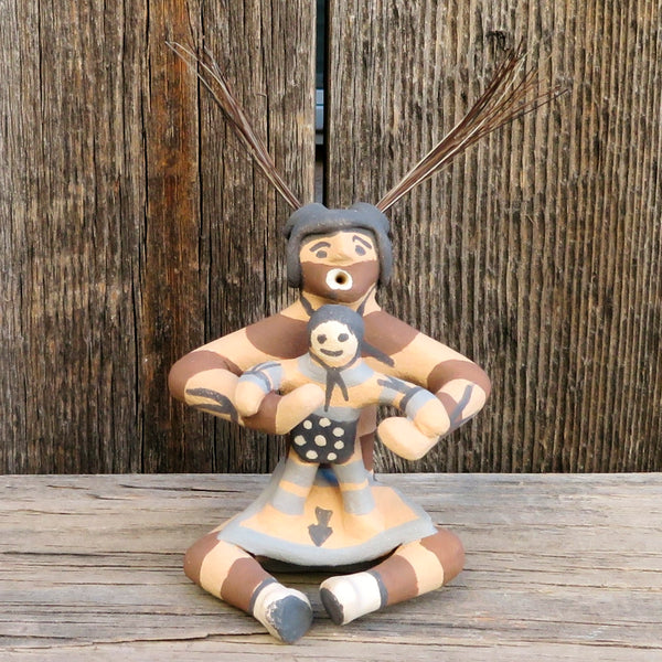Native American Pottery-Jemez Pueblo Red Clay Pottery-KOSHARI STORYTELLER Sculpture-Ben Fragua