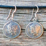 Native American Jewelry-Taos Pueblo-Authentic Winged Liberty Head Dime Earrings-Lawrence Archuleta