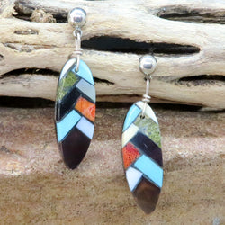 Native American Jewelry-Santo Domingo/Kewa Pueblo-Inlaid Turquoise/Multi-Stone Feather Shaped Drop Earrings-Charlotte Reano