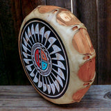 Native American Art-Handmade Drum-Large Navajo Hand Painted Cochiti  Drum-SUNFACE Design-Westly Begay