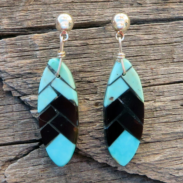 Native American Jewelry-Santo Domingo/Kewa Pueblo-Inlaid Turquoise & Jet Feather Shaped Drop Earrings-Charlotte Reano