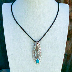Native American Jewelry-Navajo Sterling Silver & Turquoise Tufa Cast Feather  Pendant-Gary Custer - And the Crow