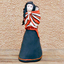 "Native American Pottery-Cochiti Pueblo Pottery-Red Clay Pottery Mother and Child Sculpture-""My First Born""-Brian Suina"