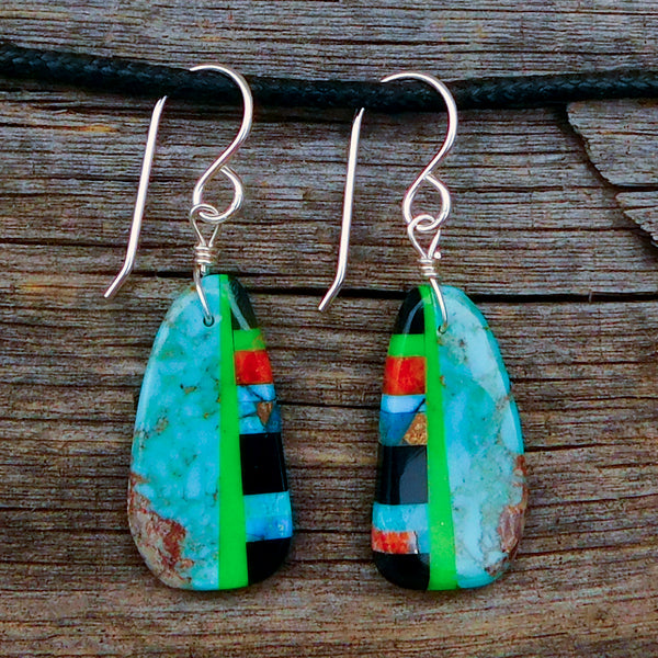 Native American Jewelry-Santo Domingo/Kewa Pueblo-Turquoise and Stone Inlay Earrings-Ronald Chavez