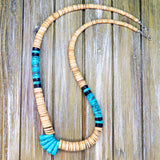 Native American Jewelry-Santo Domingo/Kewa Pueblo-Multi-Stone Heishi Necklace with Turquoise Jacla-Lupe Lovato
