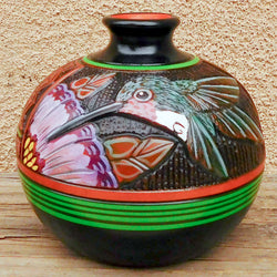 Native American Pottery-Navajo/Dine' Etched Ceramic Pottery HUMMINGBIRD POT - Paul Lansing