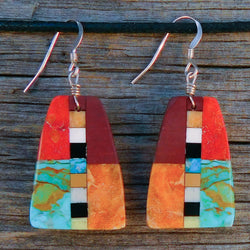 Native American Jewelry-Santo Domingo/Kewa Pueblo-Turquoise & Stone Inlay Earrings-Rudy & Mary Coriz