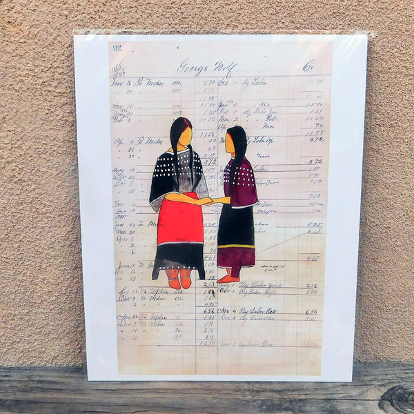 "Native American Art-Print of Original Painting-Comanche/Kiowa-Ledger Art-""Teach""-J. NiCole Hatfield"