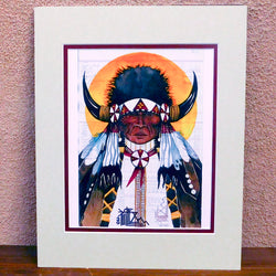 "Native American Art-Matted Print of Original Painting-Oglala Lakota-Ledger Art-""Buffalo Nation"" - Joe Pulliam"