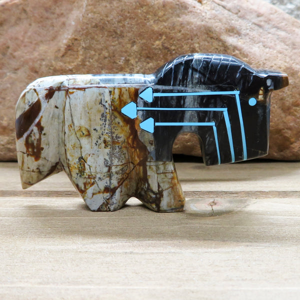 Native American Zuni Fetish Carving-Picasso Marble Triple Heartline HORSE-Spirit Animal-Kenric Laiwakete