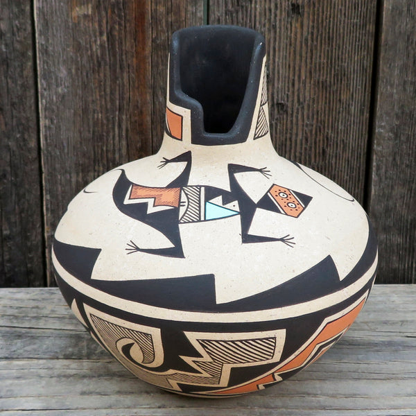 Native American Pottery-Navajo/Acoma Pottery-Handmade Anasazi LIZARD Design KIVA POT - Westly Begay