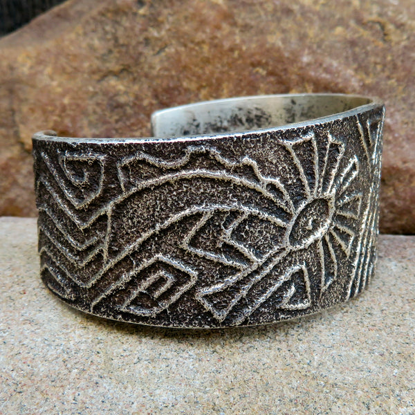 Native American Jewelry-Ute-Sterling Silver Tufa Cast Cuff Bracelet-FLUTE PLAYER Design - Anthony Bowman