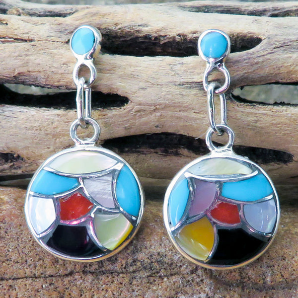 Native American Jewelry-Zuni Sterling Silver, Turquoise, and Multi-Stone Inlay Drop Earrings-Orena Leekya