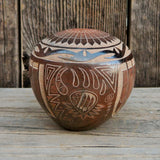 Native American Pottery-Authentic Clay Pottery-Santa Clara Hand Coiled Etched Pot-Dean Haunsooah
