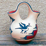 Native American Pottery-Jemez Pueblo Red Clay Pottery-Traditional Handmade Wedding Vase-Bird Design-Rebecca Gachupin