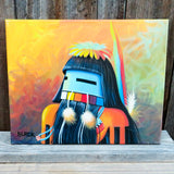 Native American Art - Navajo Original Acrylic Painting on Canvas-LONGHAIR KACHINA-Jack Black