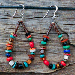 Native American Jewelry-Santo Domingo/Kewa Pueblo-Multi-Stone and Heishi Earrings-Jeanette Calabaza