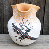 Native American Pottery-Zuni Pueblo Handmade Pottery-Raised LIZARD POT with Fluted Rim-Deldrick & Lorenda Cellicion