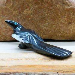 Native American Zuni Fetish Carving-Black Marble Long Tailed MAGPIE-Spirit Animal-Calvert Bowannie