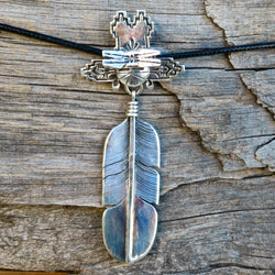 Native American Jewelry-Navajo Large Sterling Silver Kachina and Feather Pendant-Bennie Ration