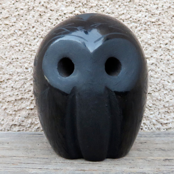 Copy of Native American Pottery - Santa Clara Pueblo Pottery-Handmade Black Pottery Owl-Merton Sisneros
