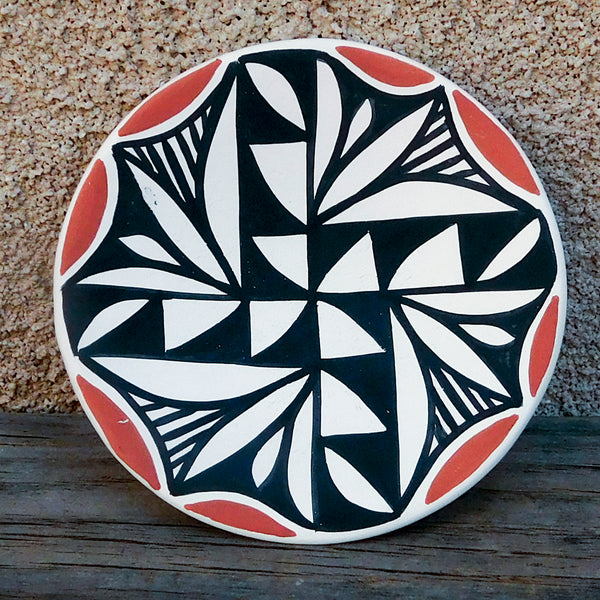 Native American Pottery-Acoma Pueblo Pottery-Handmade Clay Fired Geometric Pottery Dish-Joseph Bear Routzen
