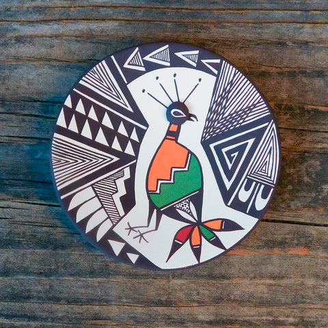 Native American Pottery-Acoma Pueblo Pottery-Hand Made Mimbres Quail & Geometric Design Polychrome Plate-Carolyn Concho - And the Crow