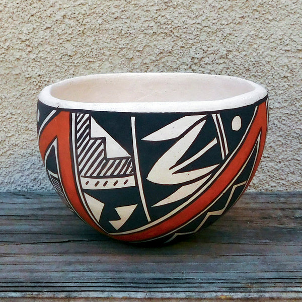 Native American Pottery-Acoma Pueblo Pottery-Small Hand Coiled Geometric Design Pottery Bowl-Joyce Leno