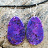 Native American Jewelry-Santo Domingo/Kewa Pueblo-Mojave Purple Turquoise Slab Earrings-Ronald Chavez