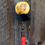 Native American Artifact-Authentic Creek Ceremonial Rattle with WOLF Design and Beadwork-La Ne Ayo