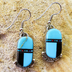 Native American Jewelry-Navajo Sterling Silver & Turquoise Multi-Stone Inlay Earrings-Ray Jack