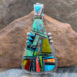 Native American Jewelry-Navajo Large Sterling Silver and Multi-Stone Inlay Pendent - Ray Jack