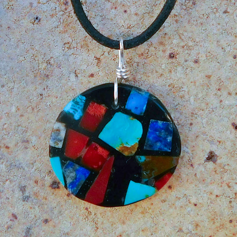 Native American Jewelry-Santo Domingo/Kewa Pueblo-Multi-Stone Mosaic Inlay Round Pendant-Julian Coriz - And the Crow