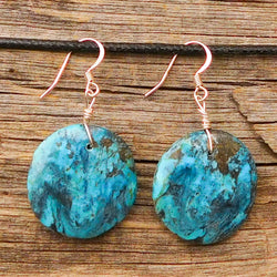 Native American Jewelry-Santo Domingo/Kewa Pueblo Stone Jewelry-Round Turquoise Earrings - Veronica Tortalita