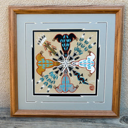 Native American Indian Navajo Framed Sandpainting - Four Sacred Plants and Frog Design-Marlene Doby